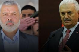 رئيس وزراء تركيا يهنئ هنية بانتخابه رئيسا للمكتب السياسي لحماس