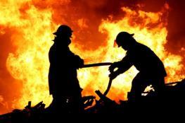 النيران تلتهم منزلاً بشكل كامل  في خانيونس بسبب تدفئة