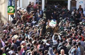 جانب من تشييع جثامين 7 شهداء ارتقوا في اشتباك مسلح مع قوات الاحتلال بخانيونس