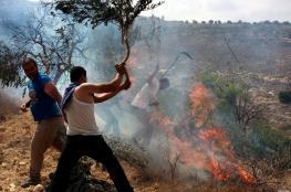 مستوطنون يحرقون اراضي المواطنين جنوب نابلس