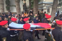 """قوات الاحتلال تهاجم موكب الشهيد """" مصعب التميمي """" برام الله"""