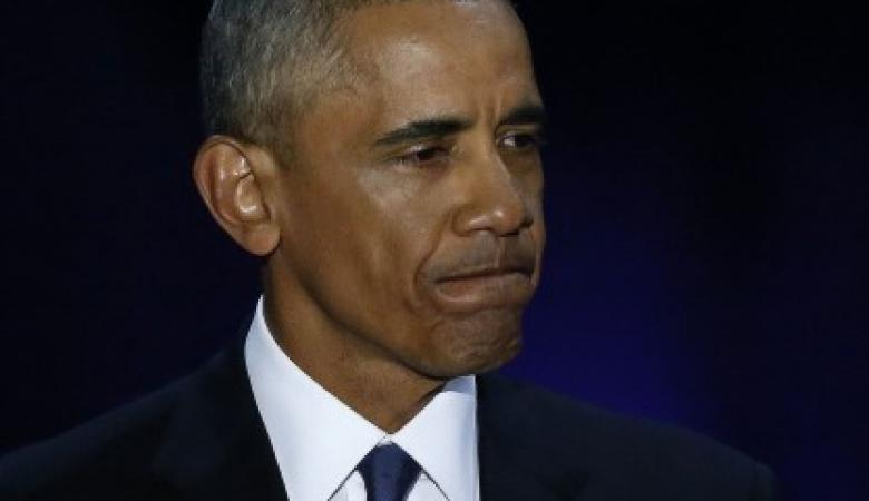 """شاهد... بكاء """"اوباما """" في خطاب الوداع"""