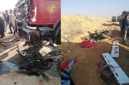 مصرع 12 عاملاً مصرياً في حادث سير مروع