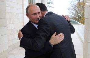 جانب من اللقاء الذي جمع بين بشار الأسد والرئيس الروسي بوتين  أمس الاثنين