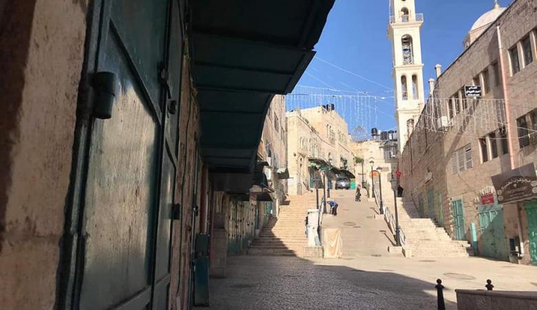 """اضراب يعم بيت لحم حدادا على روح الشهيد """"مناصرة """""""