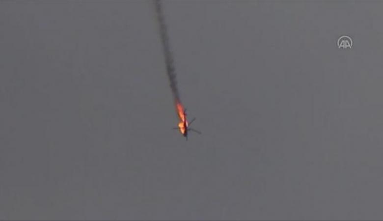 شاهد ..المعارضة السورية تسقط طائرة مروحية للنظام في ادلب