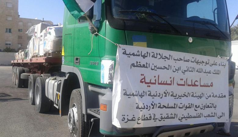 الاردن يسير قافلة مساعدات لقطاع غزة