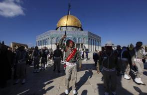 القدس - مسيرة كشفية من شوارع القدس الى المسجد الاقصى بمناسبة عيد المولد النبوي الشريف.