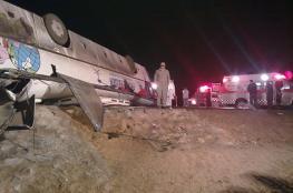 ضحايا واصابات اثر انقلاب حافلة معتمرين اردنيين في السعودية