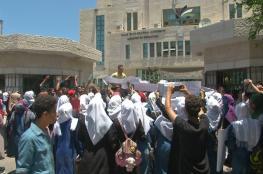 """عدد من طلبة التوجيهي يعتصمون بغزة ضد النظام الجديد """"الانجاز"""""""