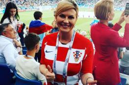 """رئيسة كرواتيا تمنح بوتين وترامب قميص منتخب بلادها رقم """"9"""""""