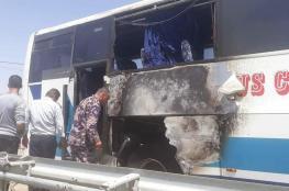 الدفاع المدني يخمد حريقا اشتعل في حافلة اثناء سيرها في جنين