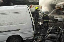 الدفاع المدني يخمد حريقا اشتعل في محل قطع للغيار بنابلس