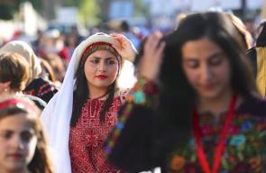 جانب من فعالية يوم الزي الفلسطيني في مدينة البيرة