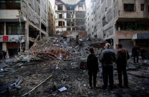 آثار الدمار الذي خلفته الغارات الاسرائيلية على مناطق متفرقة في مدينة غزة