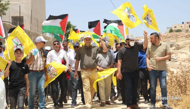 """""""فتح"""" جنوب الخليل تنظم وقفة منددة ورافضة لمشروع الضم الإسرائيلي"""