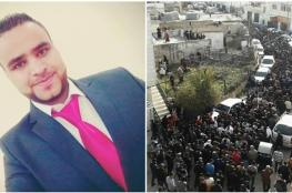 """آلاف الفلسطينيين يشيعون جثمان شهيد لقمة العيش """"محمد حاتم """""""