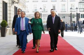 الرئيس محمود عباس، أثناء لقاء رئيسة البرلمان الإسباني في مدريد