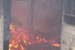 النيران تلتهم منزلا في قرية دير الحطب شرق نابلس