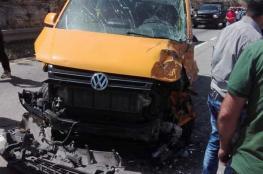 اصابة 8 مواطنين بحادث تصادم 3 مركبات شمال رام الله