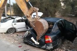 الشرطة تتلف 91 مركبة غير قانونية غرب رام الله
