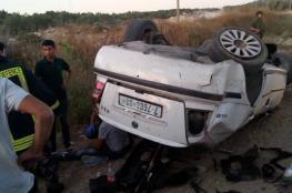 اصابات بحادث انقلاب مركبة في قلقيلية