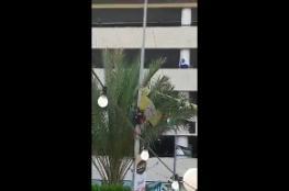 شاهد ...فتاة تحاول الانتحار من الطابق الرابع في نابلس  والشرطة توضح الاسباب