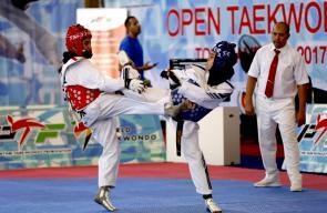 جانب من منافسات بطولة فلسطين الثانية للتايكواندو في رام الله