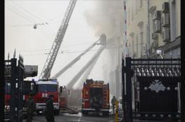 """النيران تلتهم احد مباني وزارة الدفاع الروسية """" فيديو """""""