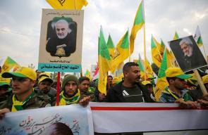 آلاف العراقيين يشيعون جثماني سليماني والمهندس في بغداد