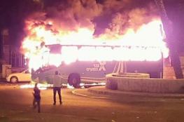 حوارة ...اندلاع النيران في حافلة للمستوطنين ومواجهات واقتحام للبلدة