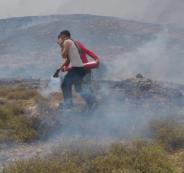 حرق اراضي جالود جنوب نابلس