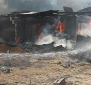 حريق النصيرات وسط قطاع غزة