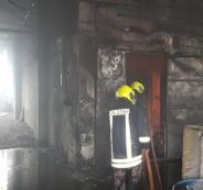 حريق في منجرة بنابلس