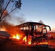 احتراق حافلة للجيش الاسرائيلي