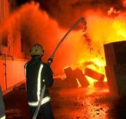 احماد حريق محلات تجارية في جنين