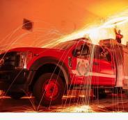 حريق في بنك فلسطين
