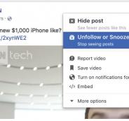 """فيس بوك تختبر ميزة """"كتم"""" الأصدقاء والصفحات والمجموعات مؤقتاً"""