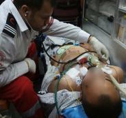 وصول الصحفي المصاب أحمد أبو حسين لمجمع فلسطين الطبي برام الله