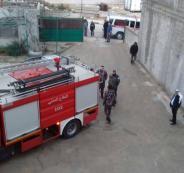 حريق في برج تجاري برام الله