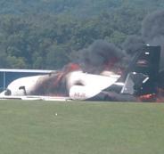 النيران تشتغل بطائرة بعد هبوطها باميركا