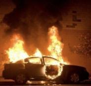 احراق مركبة اسرائيلية في القدس