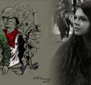 فنانة ايطالية والطفل الفلسطيني الجنيدي