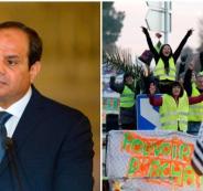السيسي والتظاهرات في فرنسا