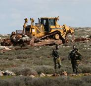 تجريف اراضي المواطنين في قرية جالود