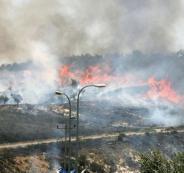 مستوطنون يحرقون اراضي المواطنين في الخليل