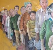 بالصور.. لاجئ سوري يرسم زعماء العالم على شكل لاجئين.. تعرف عليهم