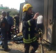 اندلاع حريق هائل في محل للمفروشات والأجهزة الكهربائية في مخيم جنين