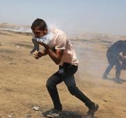 قنبلة غاز تصيب وجه شاب فلسطيني