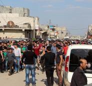 تظاهرة في مدينة أعزاز السورية احتجاجاً على المجزرة الاسرائيلية في غزة